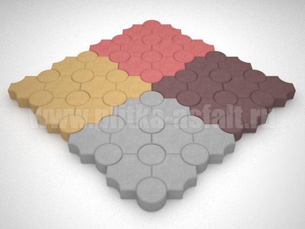 плитка клевер рельефный цветная